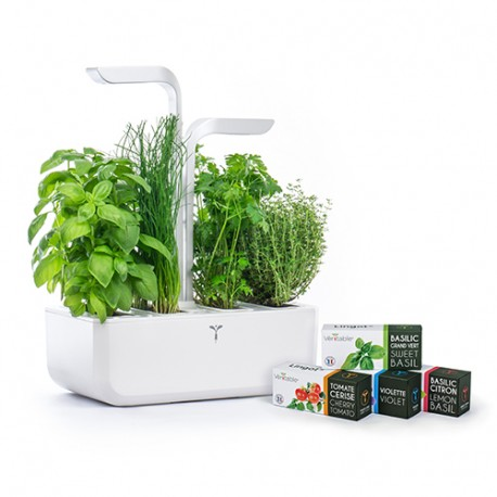 Classic Veritable Garden White Organic Veritable Lingot Click & Grow Smart Garden Herbs Herb Grow light self watering planter indoor LED